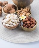 nuts. mixed nuts on the background Stock Photo