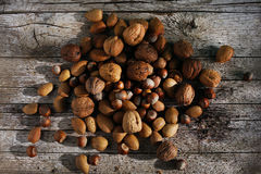 Nuts mixed, unshelled in kernels, walnuts, hazelnuts and almonds Stock Image