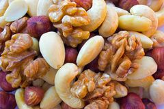 Nuts mixture hazelnut almonds walnuts cashew. Nuts mixture hazelnuts almonds walnuts cashew on one pile - wiev flat lay Stock Photography