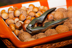 Nuts and a nutcracker. In a dish Royalty Free Stock Photos
