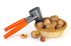 Nuts and nutcracker royalty free stock photo
