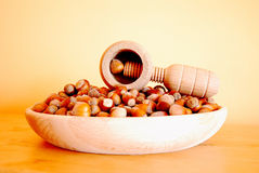 Nuts and nutcracker in hdr Stock Photos