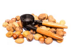 Nuts and nutcracker Stock Image