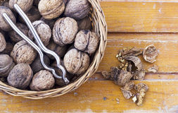 Nuts and nutcracker Stock Photos