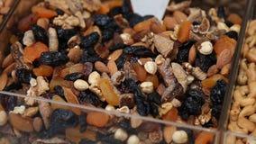 Nuts on a oriental bazaar in Istanbul stock footage