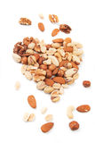 Nuts over white background Royalty Free Stock Image