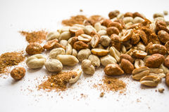 Nuts and spices. Nuts with paprika isolated Stock Images