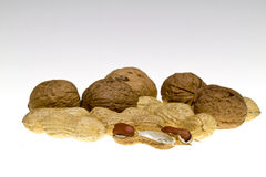 Nuts and peanuts Royalty Free Stock Images