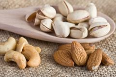 Nuts - Pistachio, Almond, Cashew Royalty Free Stock Image