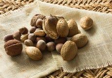 Nuts. pistachio almond hazelnut crude Royalty Free Stock Photography