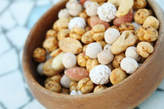 Nuts in a plate. Royalty Free Stock Images