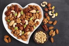 Nuts on a plate in the shape of a heart royalty free stock images