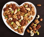 Nuts on a plate in the shape of a heart stock photography
