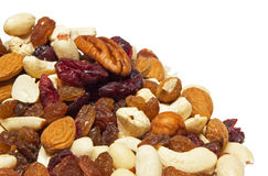 Nuts with raisins Royalty Free Stock Photos