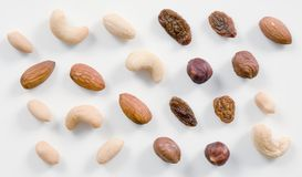 Nuts and raisins Stock Image