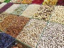 Nuts, raisins, almonds counter market. Nuts raisins almonds counter market Stock Images