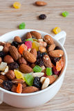 Nuts, raisins and candied fruit Stock Photo