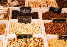 Nuts and Raisins in French Market Stock Photo
