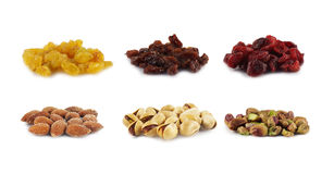Nuts and raisins isolated on white Royalty Free Stock Images