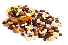 Nuts and raisins Stock Photo