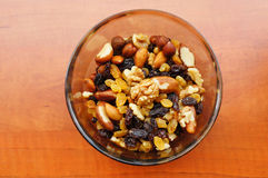 Nuts and raisins Stock Photography