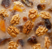 Nuts and raisins in pudding Stock Photography