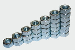 Nuts in a row Stock Images