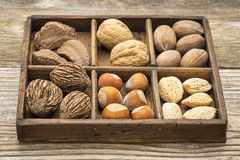 Nuts in rustic wooden box Royalty Free Stock Photo