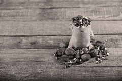 Nuts in a sack Stock Photos