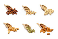 Nuts in scoops Stock Photo