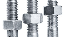 Nuts on  screws. On a white background Stock Images