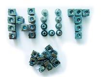 Nuts, screws and bolts closeup Stock Photos