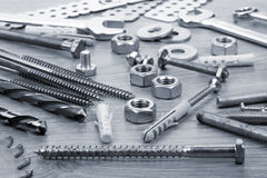 Nuts, screws and bolts closeup Royalty Free Stock Image