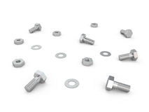 Nuts, screws and bolts, 3D. Nuts, screws and bolts on white background, 3D Royalty Free Stock Images