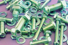Nuts, screws and washers assortments Stock Photos