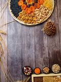 Nuts seeds dried apricot raisin, cereal food high in antioxidants, anthocyanins, smart carbs and vitamins. High dietary fibre health food concept, nuts and seeds royalty free stock image
