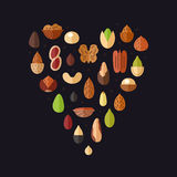 Nuts and seeds heart vector background. Flat design. Stock Images