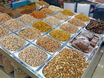 Nuts and seeds in market in Dubai Stock Photo