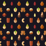 Nuts and seeds vector seamless pattern. Modern flat design. Stock Photos