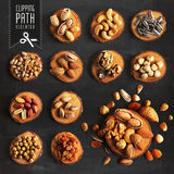 nuts set with clipping path. stock photo