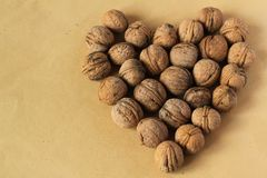Nuts in the shape of a heart Royalty Free Stock Photography