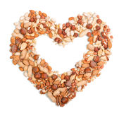 Nuts in the shape of heart Stock Photography