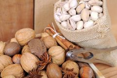 Nuts in shells Stock Photography