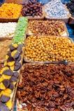 Nuts in shop in La Boqueria Market at Barcelona Royalty Free Stock Photos