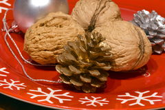 Nuts, Silver and Golden Fir Cones and a Silver Globe on a red Christmas plate Stock Images