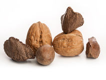 Nuts. Sorted and mixed Brazilian nuts Royalty Free Stock Photos