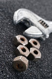 Nuts and spanner stock image