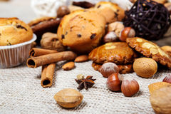 Nuts, species and cookies Royalty Free Stock Image