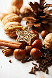 Nuts and spices for christmas cake Royalty Free Stock Photography