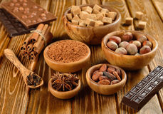 Nuts, spices and cocoa Royalty Free Stock Photos
